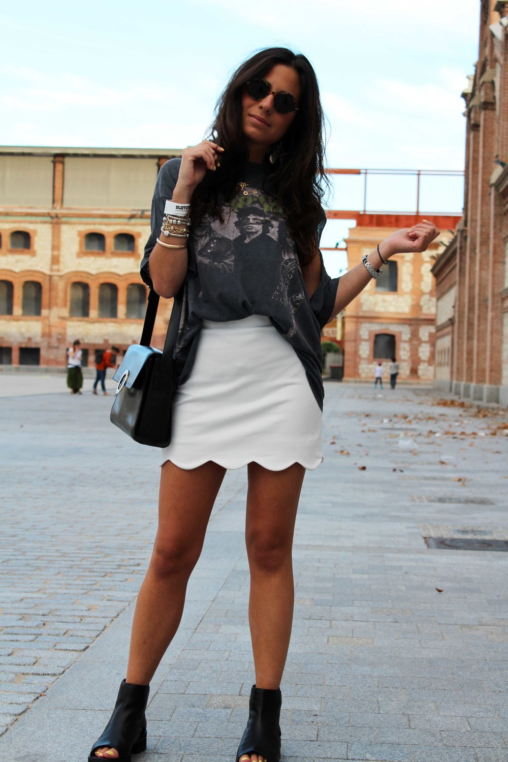 street style vintage tee with soft skirt