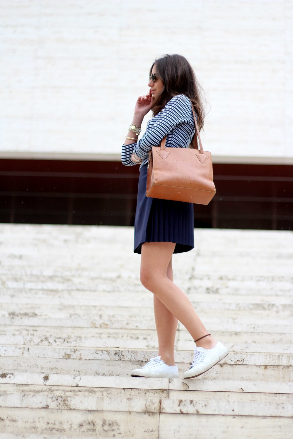 blue skirt stripes tshirt look