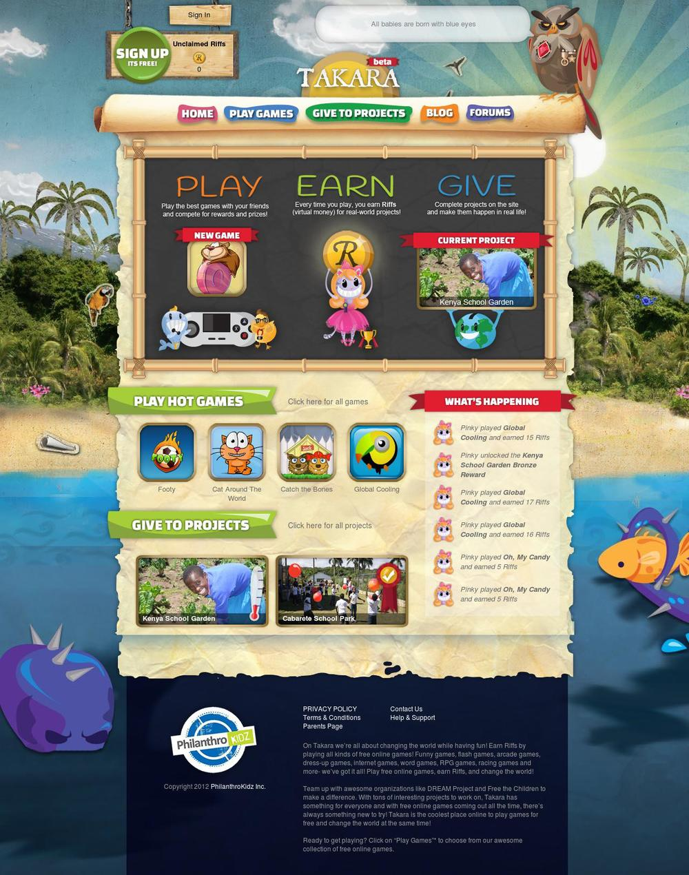 PlayTakara.com landing page