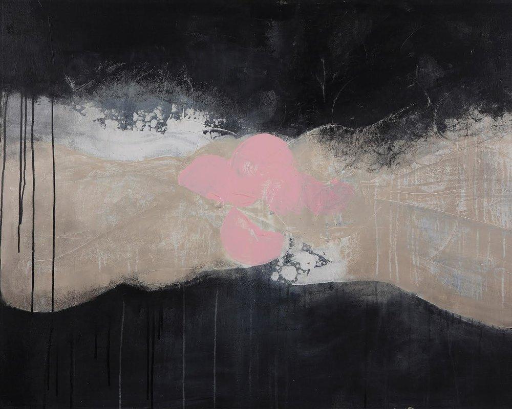 "Cosmic Intervention , 48"" x 36"", acrylic + ink on canvas"