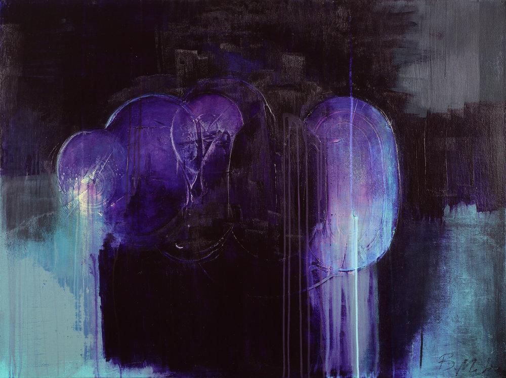 """Metamorphic , 48"""" x 36"""", acrylic + ink on canvas"""