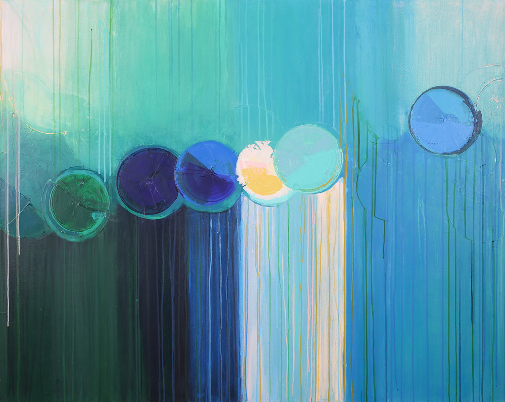 """Up + Away , acrylic + ink on canvas, 60"""" x 48""""   SOLD"""