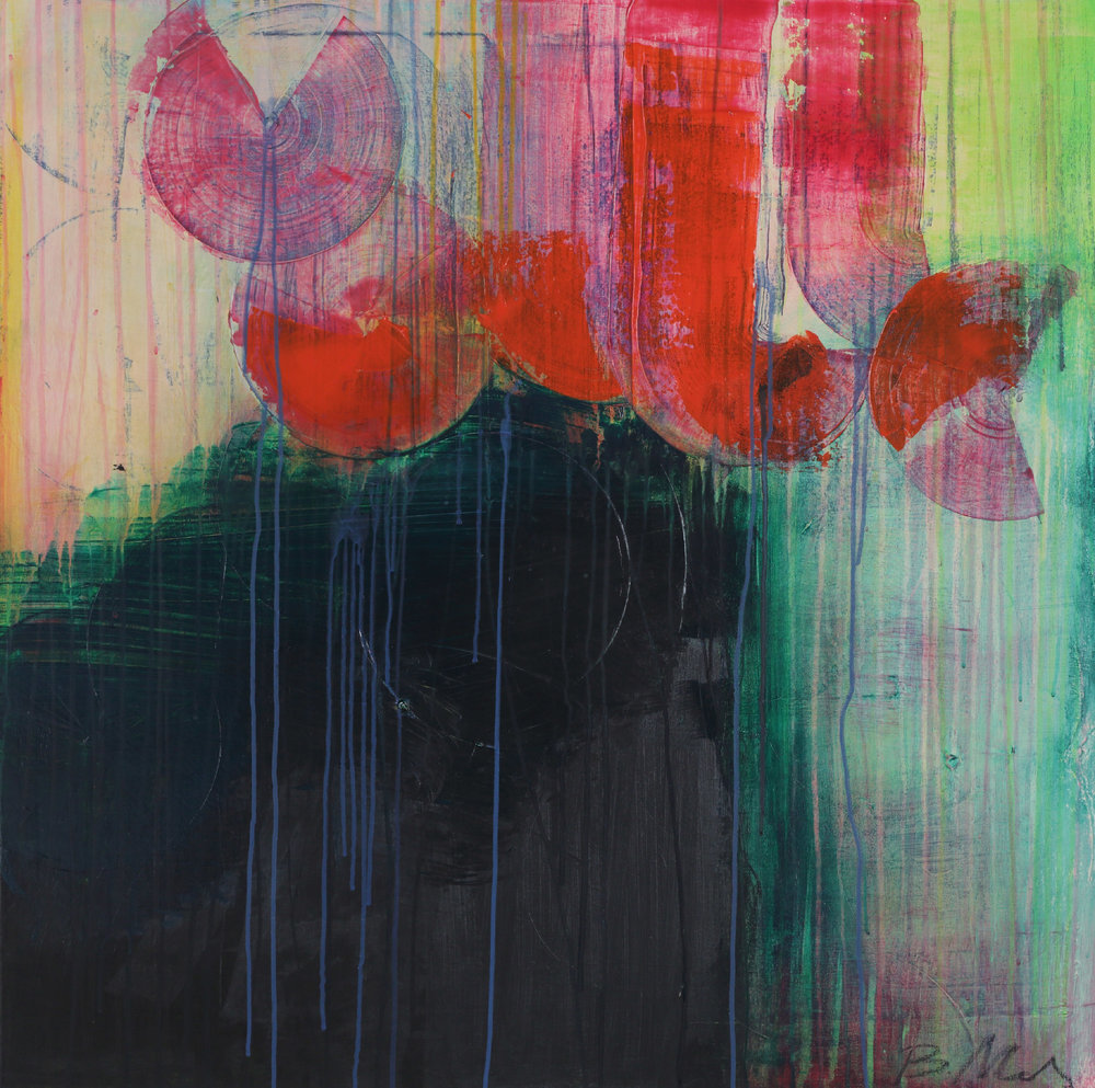 """Transformation , acrylic + ink on canvas, 36"""" x 36""""   SOLD"""