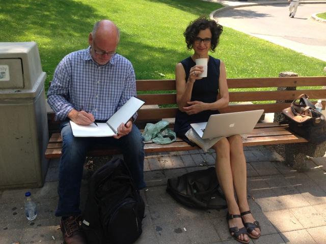 Artists Andrew Carnie and Alexa Wright enjoy a coffee break.
