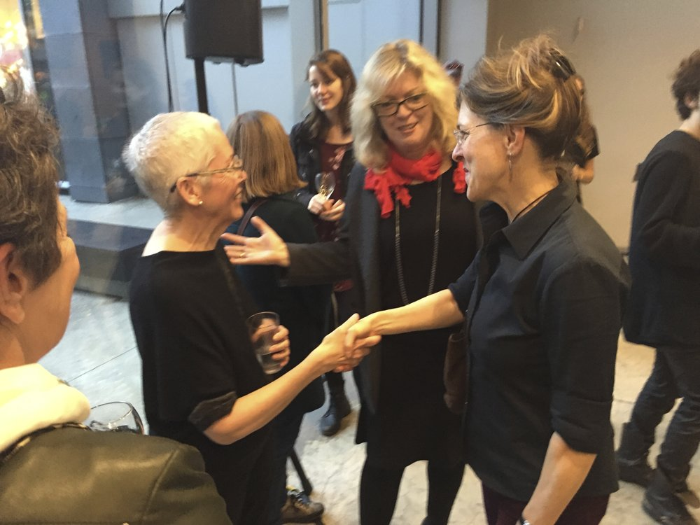 Pat McKeever, senior health researcher, Ingrid Bachmann, artist/principal investigator Hybrid Bodies, and Rebecca Duclos, Dean of the Faculty of Fine Arts, Concordia University.