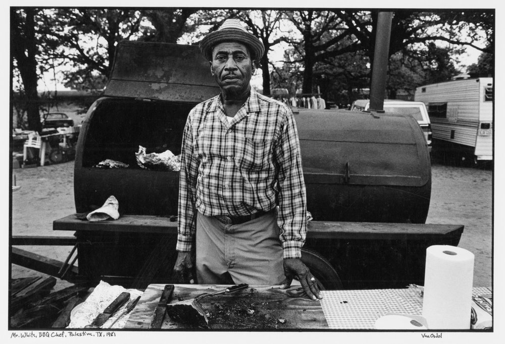 "Mr. White, Roadside BBQ Chef, Palestine, Texas, 1981. Published as spread in Robb Walsh's ""Legends of Texas BBQ"""