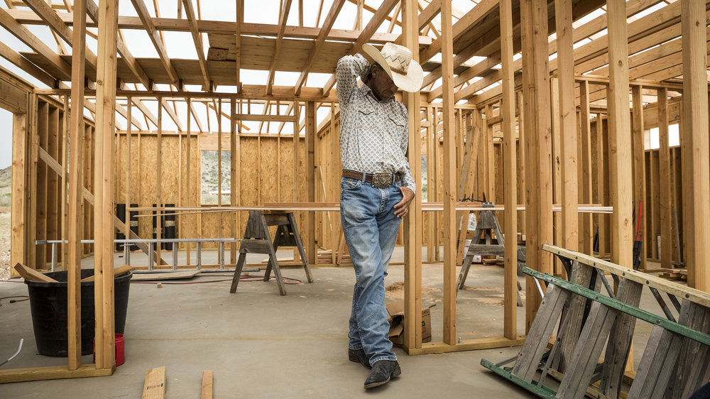 Cowboy Rode Lewis inside New House Construction