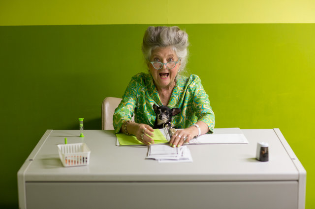 Marjorie Conn, voting poll receptionist.