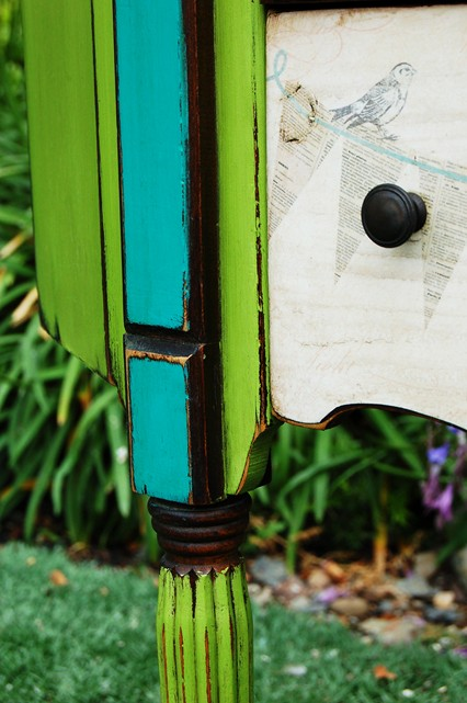 Decoupaged Sewing Cabinet Detail