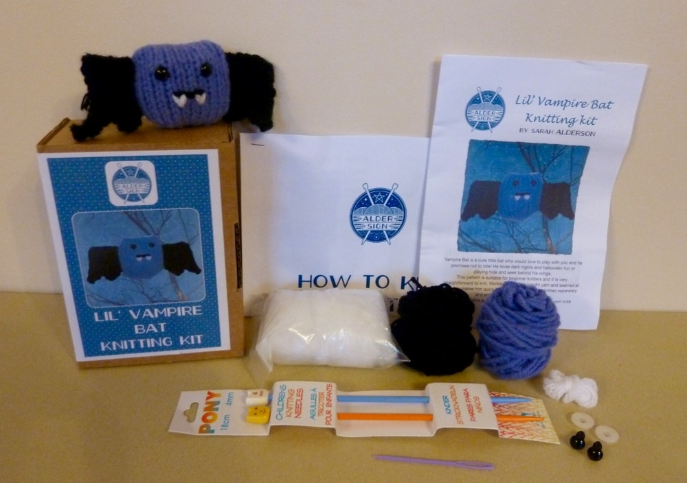 Lil' Vampire bat knitting kit