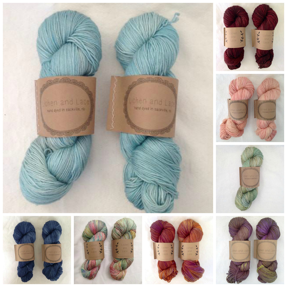 Lichen and lace 80/20 sock yarn in colourways (clockwise from top left): Beach glass, Rosewood, Faded rose, Lichen, Baby eggplant, Sweet potato, Wild Flowers and Calm waters.