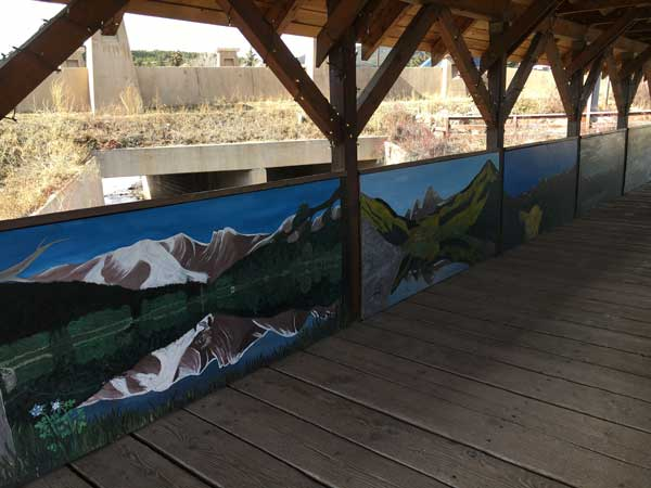 Inside the bridge is this mural and christmas lights strung all along the top.