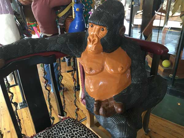 I decided to take a ride with this guy. What is great is that they have this sit-down option which works well for people with walkers and wheelchairs, so no one is excluded. Plus, you get to look lost in conversation with a gorilla.