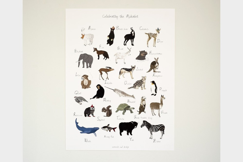 Celebrate the Alphabet Poster $39 by  Screech Owl Design