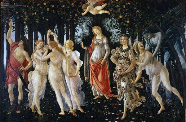 Primavera by Boticelli c. 1477 o- 1482     http://www.uffizi.org/artworks/la-primavera-allegory-of-spring-by-sandro-botticelli/