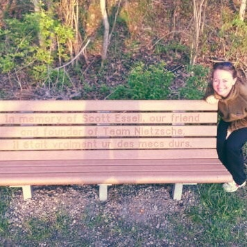 Dad's bench that Team Nietzsche dedicated to his memory on the Loveland Bike Trail
