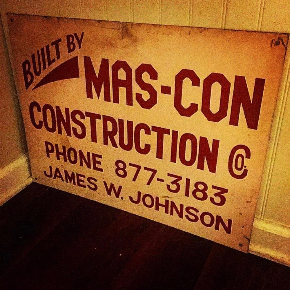 "Original ""Mas-Con Construction"" sign from the 1960s"