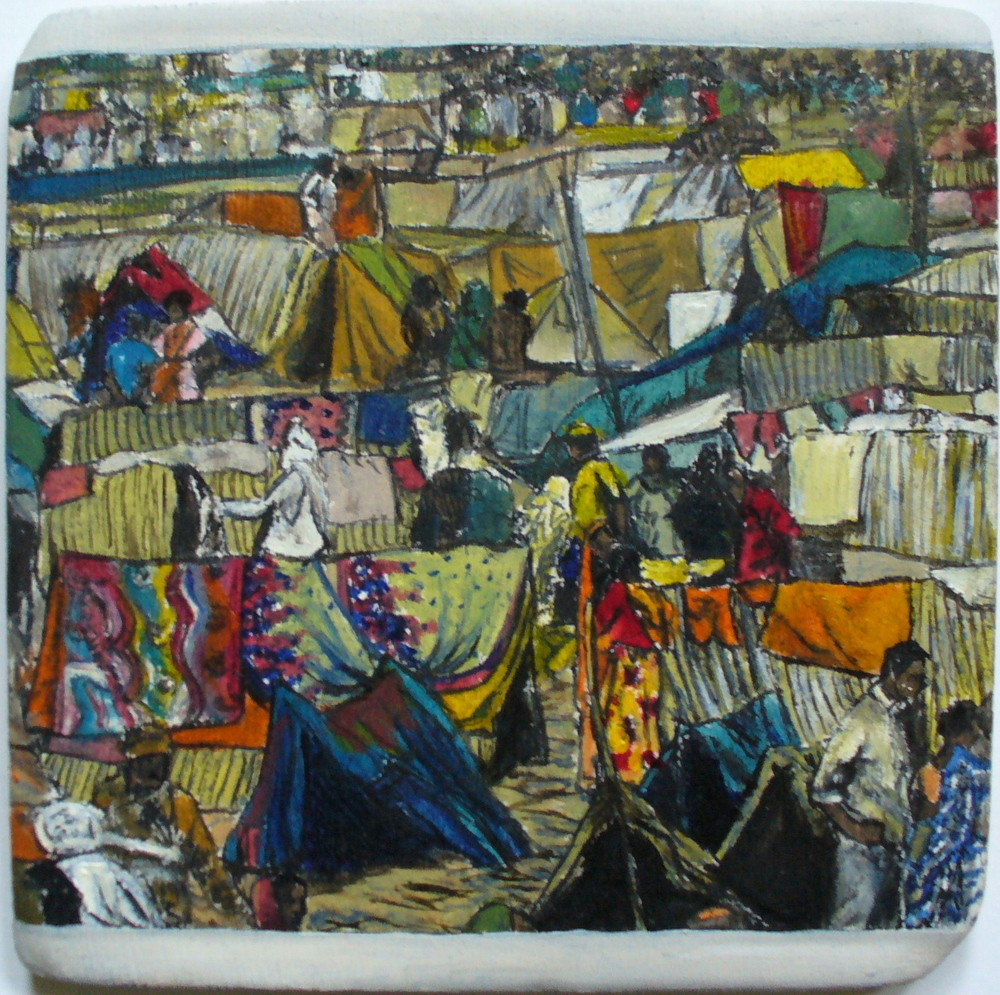 4. 'Temporary city at the Kumbh Mela', oil on ceramic, 10cm x 10cm, Morgan Tipping, 2010. - Copy.JPG