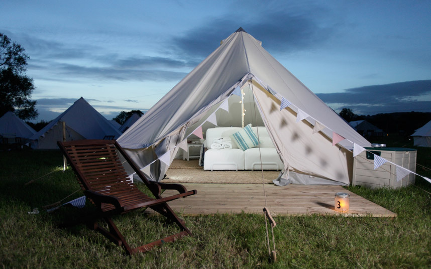 A glamping tent by UK-based  Pop-Up Hotel .