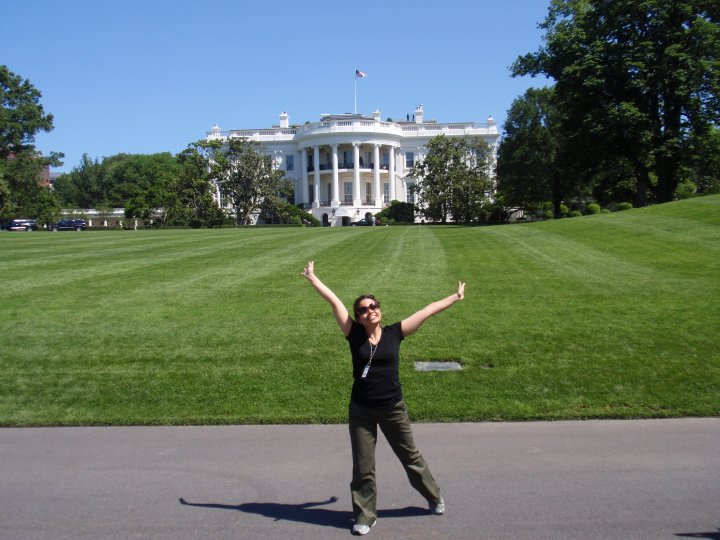Proof that I can never strike a serious pose. (Taken the day after the White House State Dinner in May 2010. Load-out of the tent had begun, hence my very casual outfit.)