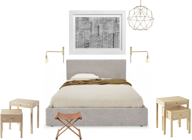 the leather stool will keep the man happy and the swing arm sconces are all too perfect for bedtime reading i cant wait to share the final photos when cb2 swing arm brass wall