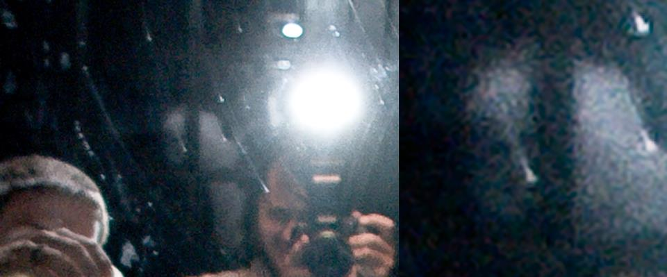 A cropped, but unedited photos of myself and a ghost over my shoulder.