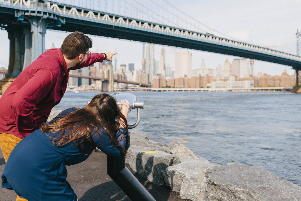 Desiree and Ryker Brooklyn Bridge Park Engagement