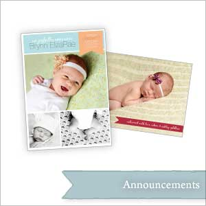 A collection of birth announcements.
