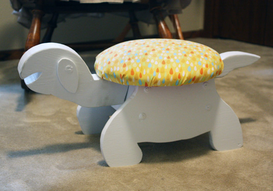 foot stool, nursery, thrift store, diy