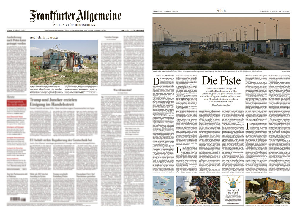 "F.A.Z. Titel + Seite 3, July, 26th 2018 – ""Die Piste"", Text by David Klaubert."
