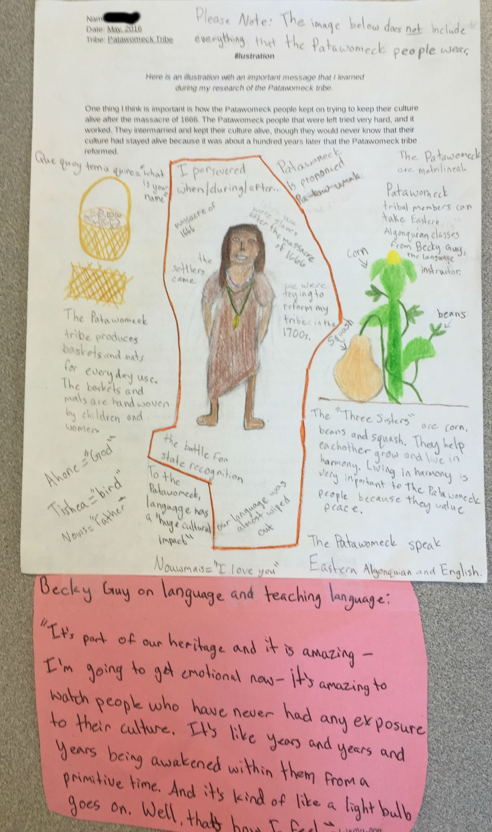 One of our students who studied the Patawomeck Tribe created this illustration to showcase some of the amazing things about the tribe.