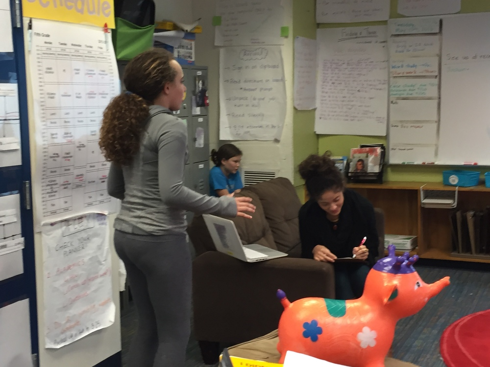 "One of our class ""pets"" serving as an audience member while students practice their stories!"