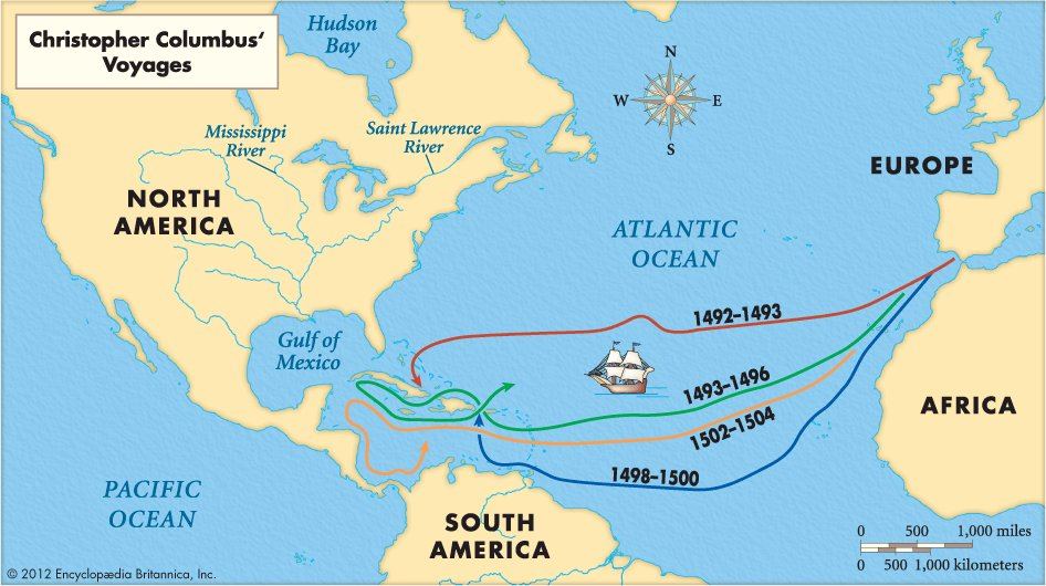 Map of the four voyages of Christopher Columbus from Britannica Kids.