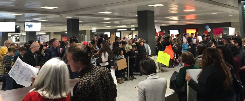 Protesters at Dulles Airport on Saturday night. We were demanding entrance to the United States for people affected by the ban.