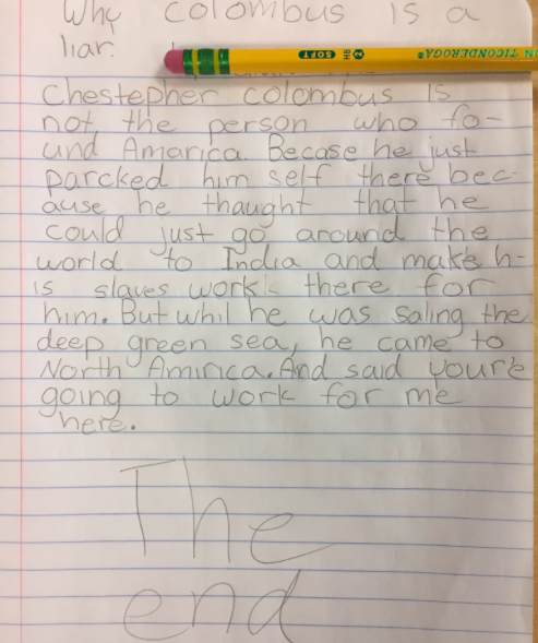 One of our student's written responses after our discussion.