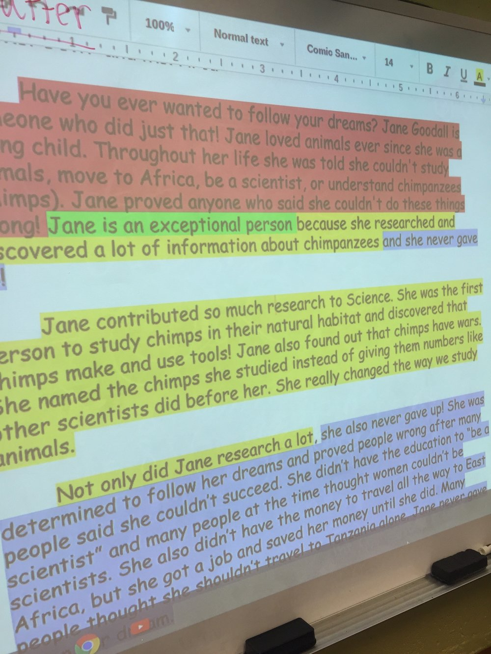 Our color coded example essay about Jane Goodall.