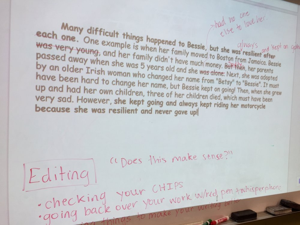 Mini-lesson on editing and revising using our example Bessie Stringfield essay.