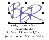 For professional inquiries and bookings, please contact Jodie Bowman or Alisa Taylor at BBR office.