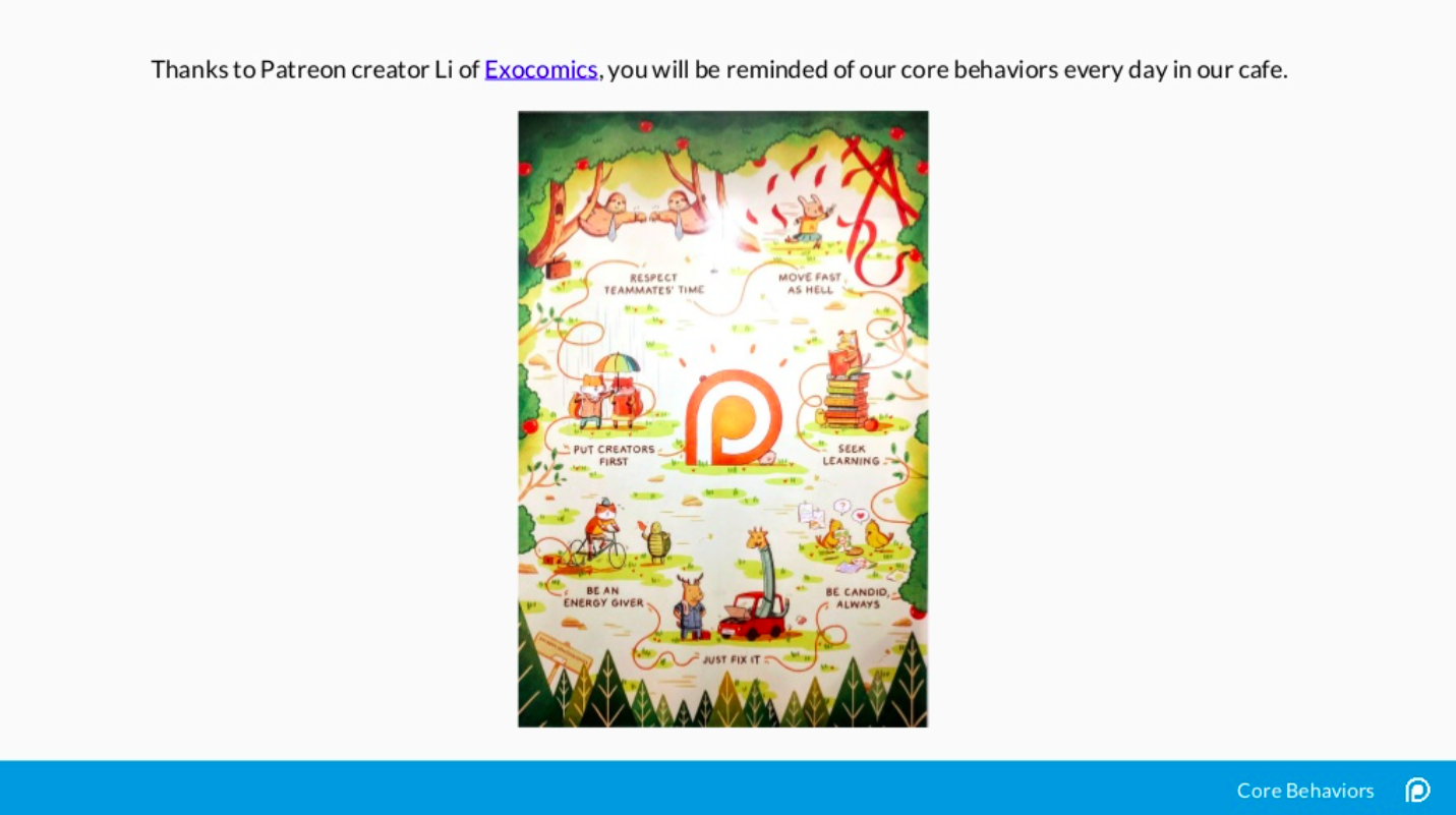 Patreon not only created a deck to explain their values, they had them illustrated and displayed in their employee cafe as a regular reminder.