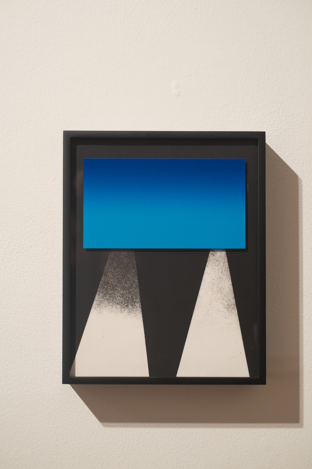 Ivan Iannoli,  Glass,  2014.     8 x 10 in.      Acrylic spray paint on glass, inkjet print on transparency, gelatin silver print