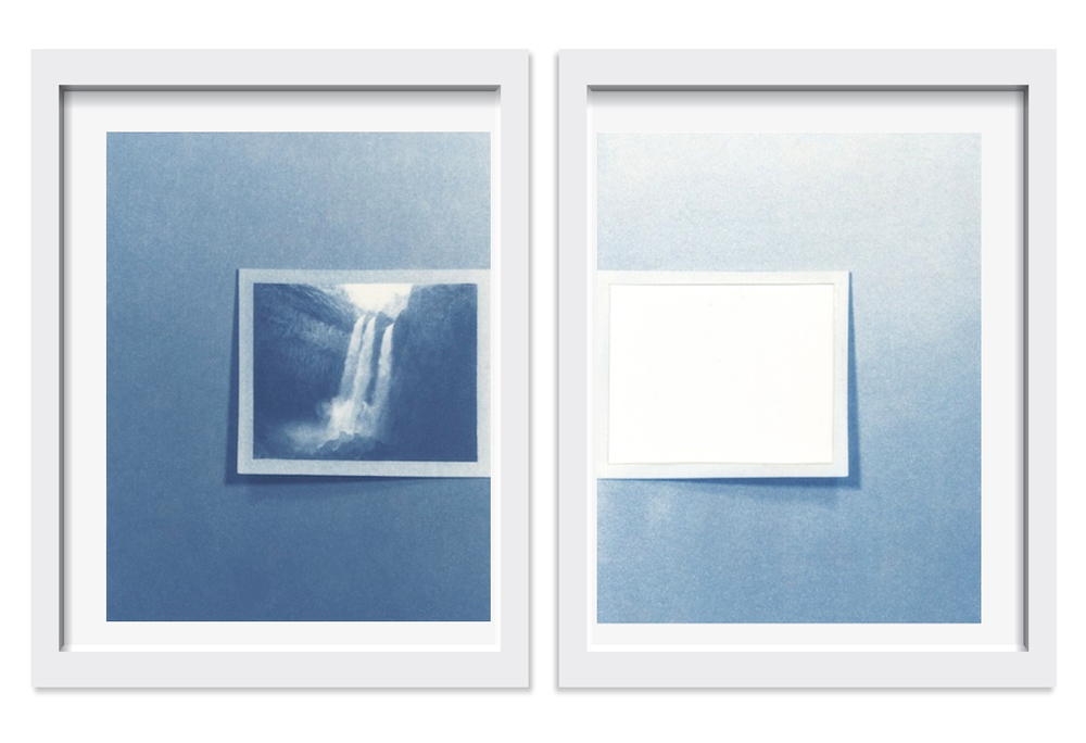 Sean McFarland,   A Stand In for A Stand In (It was Beautiful),   2014-2015.     Diptych, 8 x 10 in each     Cyanotype      Unique