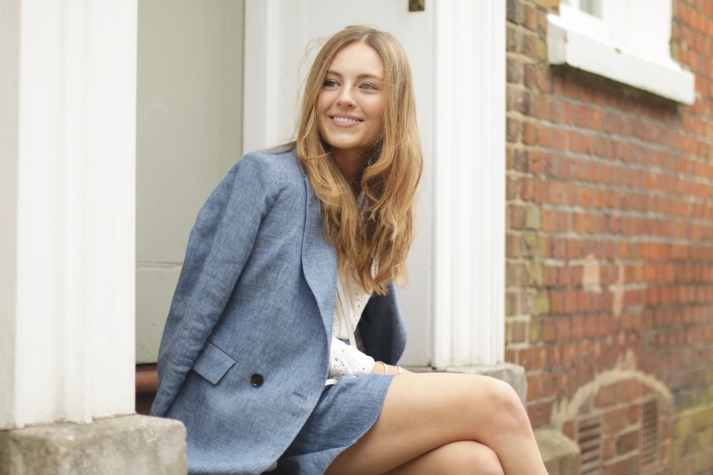 Enya Light Denim Boyfriend Blazer    Enya Light Denim Tie Shorts