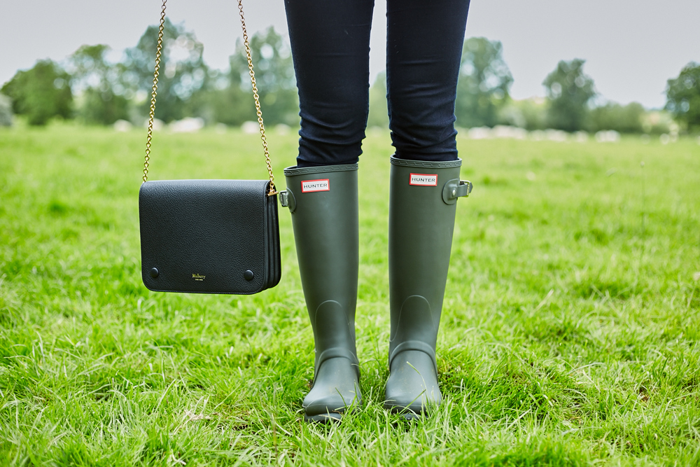 Hunter Tall Wellies (Dark Olive) & Mulberry Clifton Bag