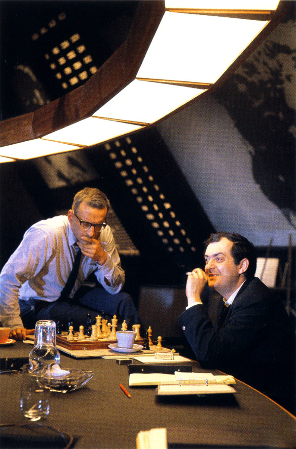 George C. Scott and Kubrick playing chess on the set of Dr. Strangelove