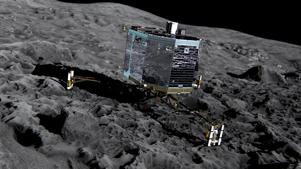 The Philae lander resting on the comet's surface. Image Credit: European Space Agency