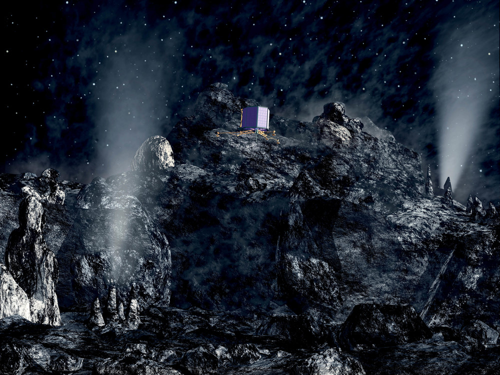 The Philae lander descends to the comet's surface. Image Credit: European Space Agency