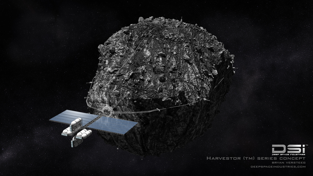A space-mining operation as envisioned by Deep Space Industries.  Image Credit: Deep Space Industries