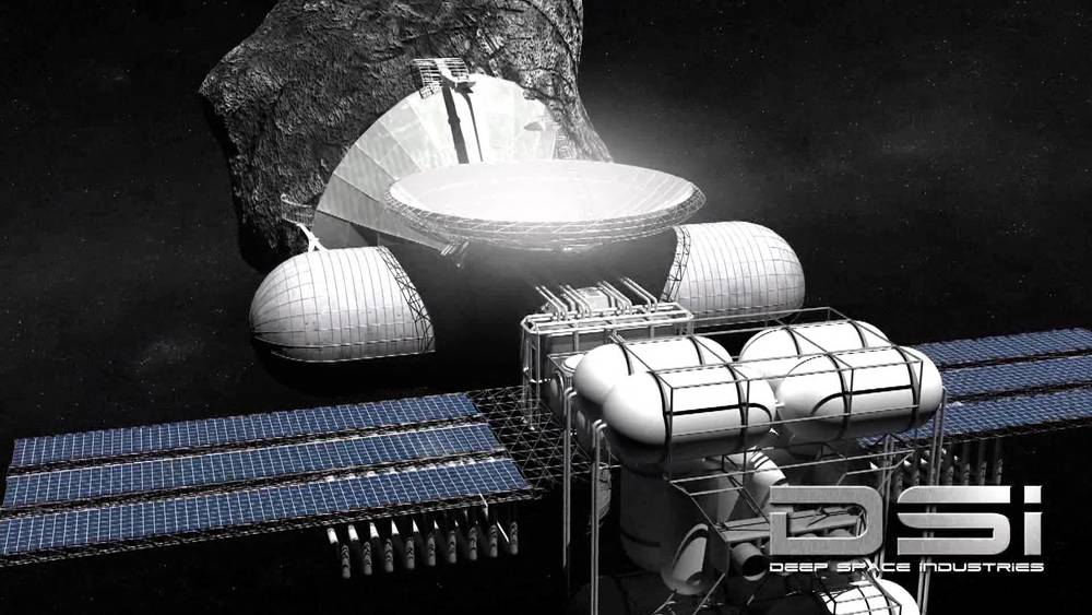 An orbital fueling depot fed by by an asteroid mine.  Awesome Image Credit: Deep Space Industries.