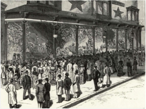 """New York City – a Holiday Spectacle – the Show Window of Macy & Co., Corner of Sixth Avenue and Fourteenth Street""   Frank Leslie's Illustrated Newspaper , December 20, 1884"