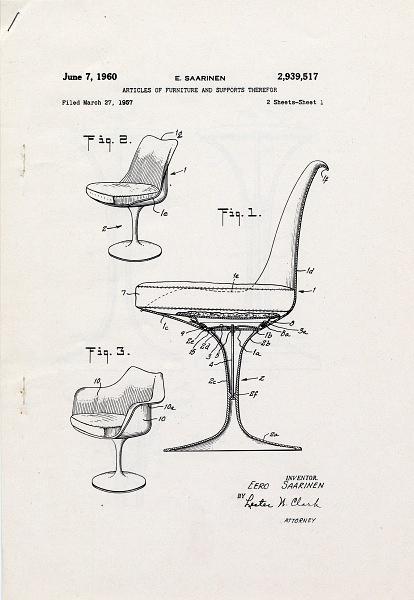 Eero Saarinen's Patent for the Pedestal Chair, 1960